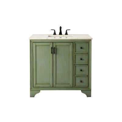 Hazelton 37 in. Vanity in Antique Green with Marble Vanity Top in Beige
