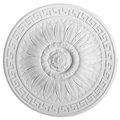 European Collection 17-11/16 in. x 1-9/16 in. Bay Leaf and Greek Patterns Polyurethane Ceiling Medallion