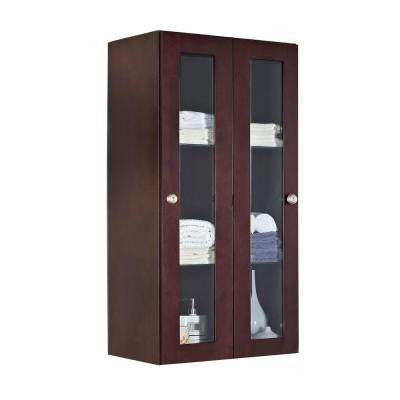 23.5-in. W x 47.75-in. H Transitional Cherry Wood-Veneer Wall Curio In Coffee