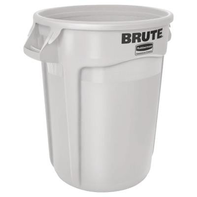 Brute 32 Gal. White Round Vented Trash Can