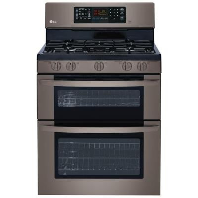 6.1 cu. ft. Double Oven Gas Range with EasyClean, Convection in Lower Oven in Black Stainless Steel