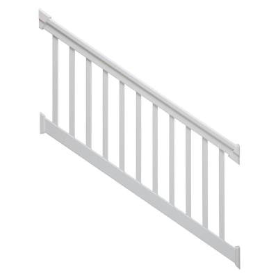 6 ft. x 42 in. 36-Degree to 41-Degree White Stair Rail Kit with Square Balusters