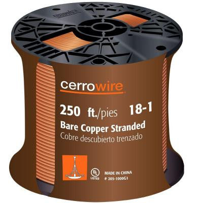 250 ft. 18/1 Bare Copper Stranded Grounding Wire