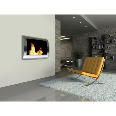 Chelsea 28 in. Wall-Mount Vent-Free Ethanol Fireplace in Stainless Steel