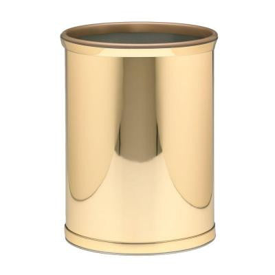 Polished Brass Mylar Trash Can with 3/4 in. Polished Brass Band and Gold Bumper