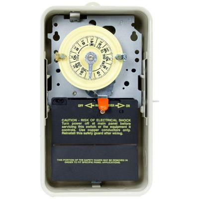 T100 Series 40-Amp 24-Hour Mechanical Time Switch with Outdoor Steel Enclosure - Gray