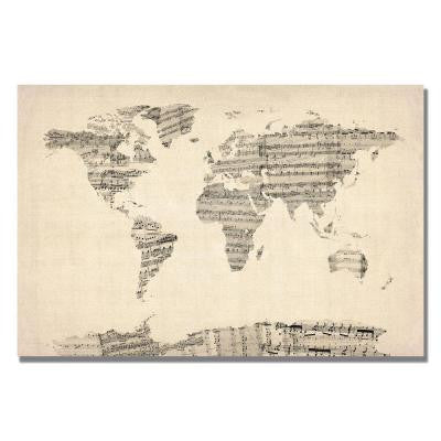 16 in. x 24 in. Old Sheet Music World Map Canvas Art
