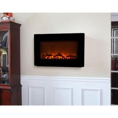 30 in. Wall-Mount Electric Fireplace in Black