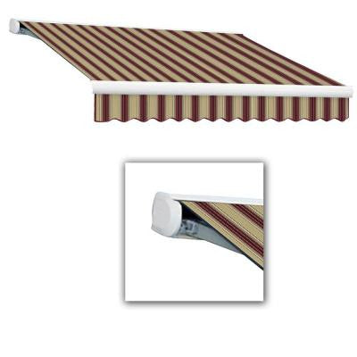 24 ft. Key West Full-Cassette Right Motor Retractable Awning with Remote (120 in. Projection) in Burgundy/Tan Multi