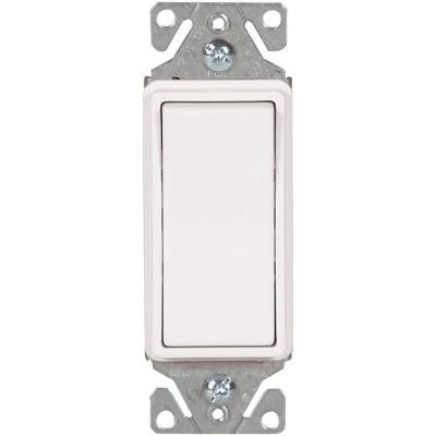 15 Amp 120/277-Volt Heavy-Duty Grade Single-Pole Decorator Lighted Switch with Back and Push Wire, White