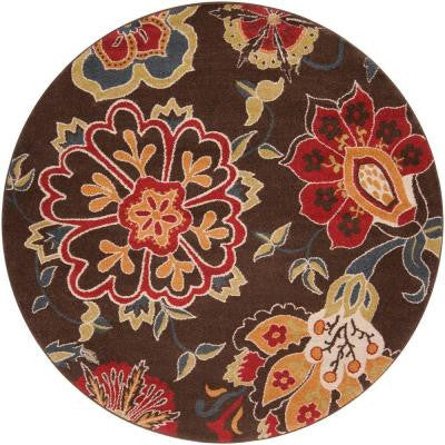 Cadia Chocolate 6 ft. 7 in. x 6 ft. 7 in. Round Indoor Area Rug
