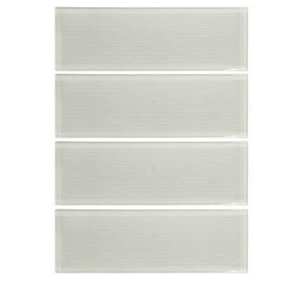 Jasmine White 3 in. x 12 in. x 8 mm Glass Wall Tile