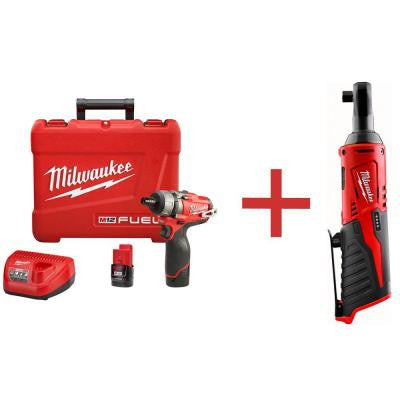 M12 FUEL 12-Volt Lithium-Ion Brushless 1/4 in. Hex Cordless Screwdriver Kit with M12 3/8 in. Ratchet