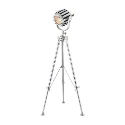 Orly 66 in. Nickel and Black and Gold Floor Lamp with Shade