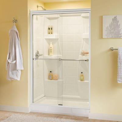 Mandara 48 in x 70 in Semi-Framed Sliding Shower Door in White with Clear Glass and Chrome Hardware