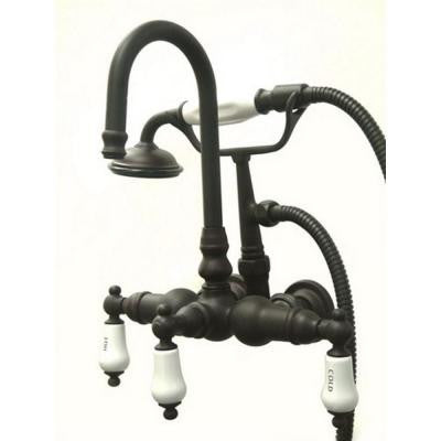 3-Handle Wall-Mount Claw Foot Tub Filler with Handshower in Oil Rubbed Bronze