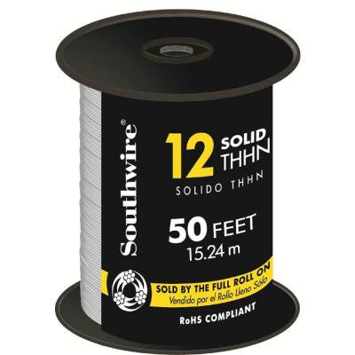 50 ft. 12/1 Solid THHN Wire - White