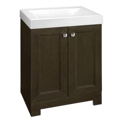 Shaila 24-1/2 in. W Vanity in Gray Oak with Cultured Marble Vanity Top in White