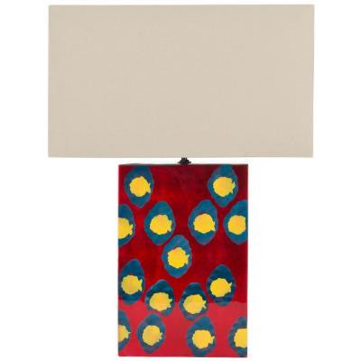 Dottie 16.5 in. Red/Blue/Gold Hand Painted Table Lamp