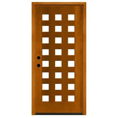 36 in. x 80 in. Modern 24 Lite Obscure Stained Mahogany Wood Prehung Front Door