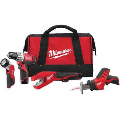M12 12-Volt Lithium-Ion Cordless Drill/Copper Tubing Cutter/Hackzall/Light Combo Kit (4-Tool)