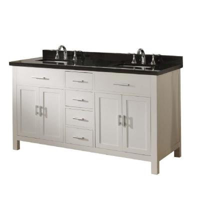 Hutton Spa 63 in. Double Vanity in Pearl White with Granite Vanity Top in Black