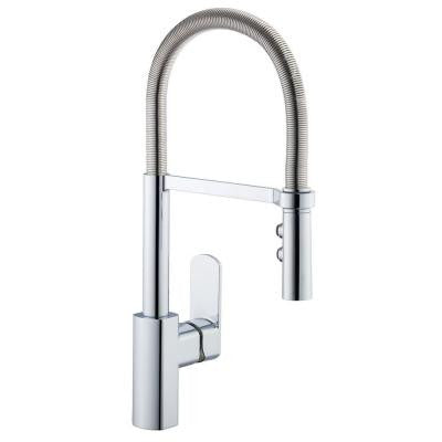 1250 Series Spring Neck Single-Handle Pull-Down Sprayer Kitchen Faucet in Stainless Steel