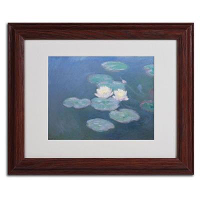11 in. x 14 in. Waterlilies Evening Matted Brown Framed Wall Art