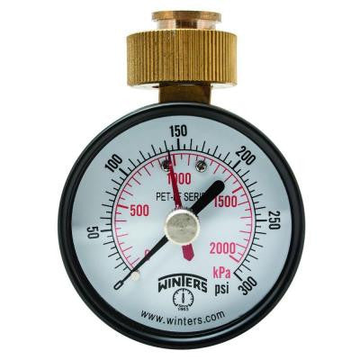 PET-LF 2.5 in. Lead-Free Brass Water Pressure Test Gaugewith 3/4 in. Swivel Hose and Maximum Pointer and 0-300 psi/kPa