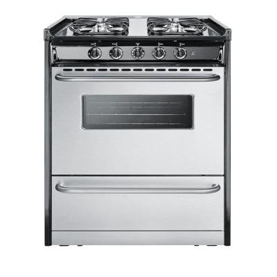 30 in. 3.7 cu. ft. Slide-In Gas Range in Stainless Steel