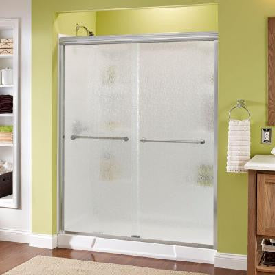 Phoebe 59-3/8 in. x 70 in. Frameless Sliding Shower Door in Chrome with Rain Glass