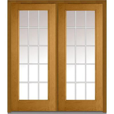 64 in. x 80 in. Classic Clear Glass GBG Full Lite Finished Oak Fiberglass Double Prehung Front Door