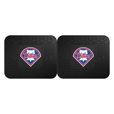 MLB Philadelphia Phillies Black Heavy Duty 2-Piece 14 in. x 17 in. Vinyl Utility Mat