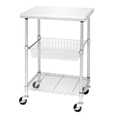 24 in. W x 20 in. D Stainless Steel Kitchen Worktable Cart