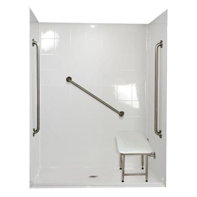 Standard Plus 36 37 in. x 60 in. x 78 in. Barrier Free Roll-In Shower Kit in White with Center Drain