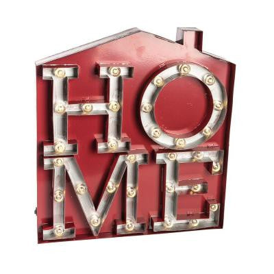 20 in. H LED Metal House HOME Sign