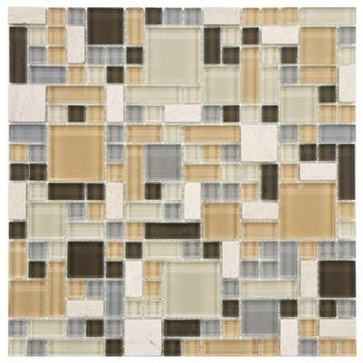 Tessera Versailles River 11-3/4 in. x 11-3/4 in. x 8 mm Glass and Stone Mosaic Wall Tile