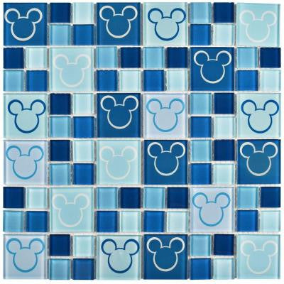 Mickey Blue 11-3/4 in. x 11-3/4 in. x 5 mm Glass Mosaic Tile