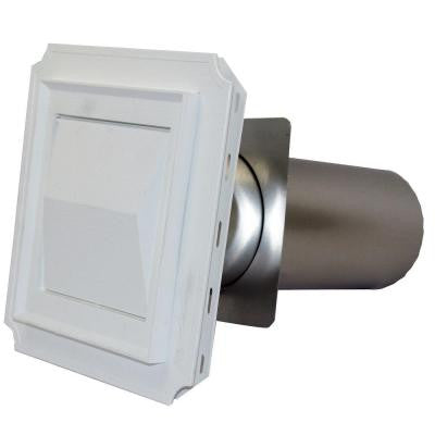 4 in. J Block Vent Hood in White with 11 in. Tail Pipe for Brick, Siding and Stucco Applications