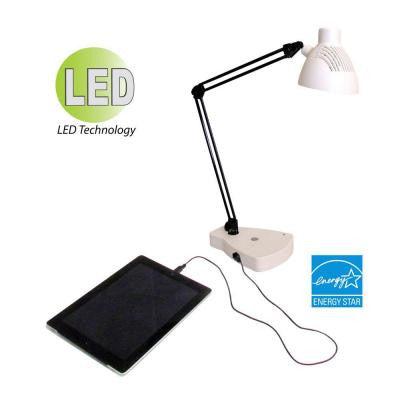 24 in. White LED Swing Arm Task Lamp