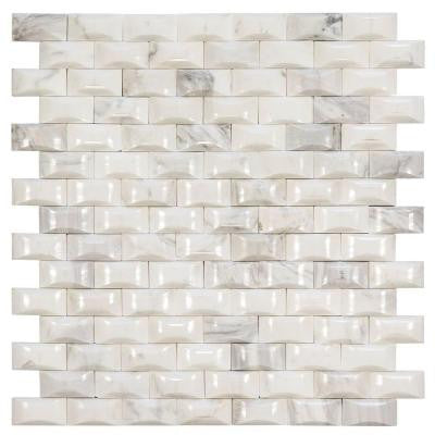 White Hills 11 in. x 11-3/4 in. x 15.47 mm Stone Mosaic Wall Tile