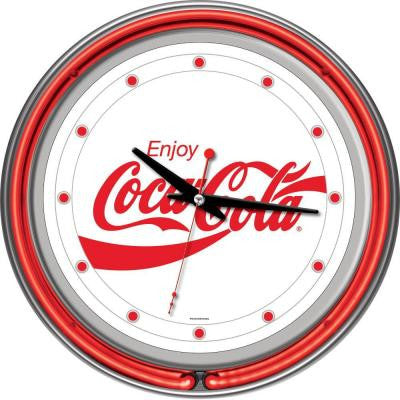 14 in. Enjoy Coke White Neon Wall Clock