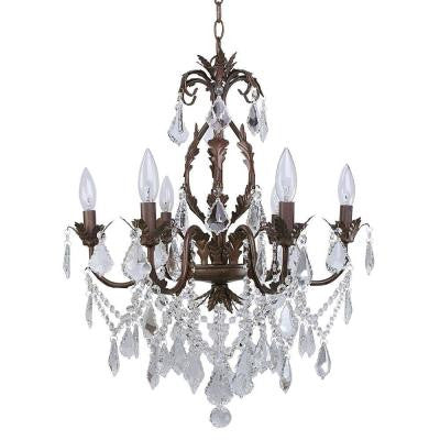Heritage 6-Light Painted Aged Iron Chandelier with Crystal Drops