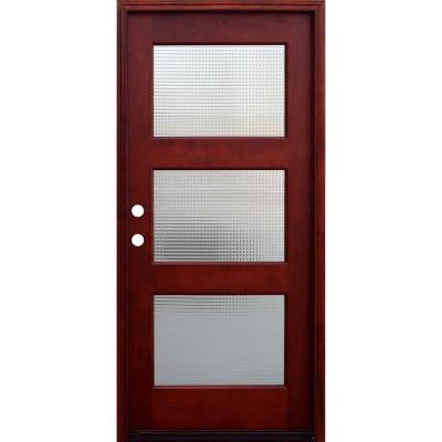 36 in. x 80 in. Contemporary 3 Lite Cross Reed Stained Mahogany Wood Prehung Front Door with 6 in. Wall Series