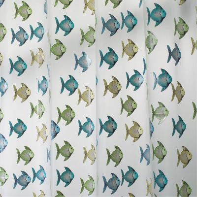 72 in. Fishy Shower Curtain in Blue/Green