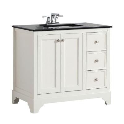 Cambridge 36 in. W Vanity in White with Granite Vanity Top in Black