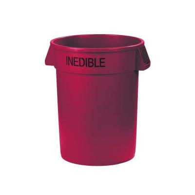 Bronco 32 Gal. Red Round Trash Can Imprinted with Inedible (4-Pack)