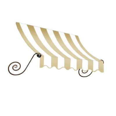 14 ft. Charleston Window/Entry Awning (24 in. H x 36 in. D) in Linen/White Stripe