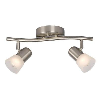 Negron 2-Light Brushed Nickel Track Lighting Wave Bar with Directional Heads