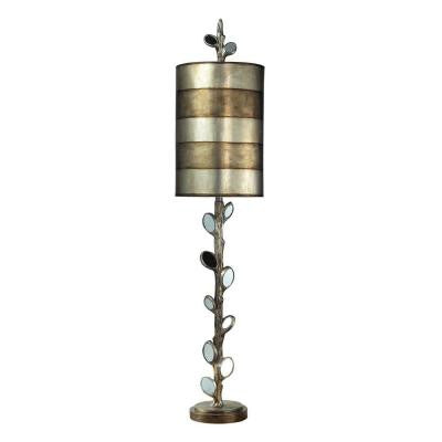 Amherst 46 in. Antique Silver and Mirror Table Lamp with Shade